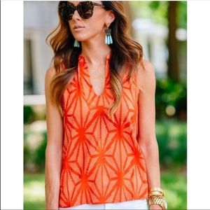 Anthropologie Maeve orange & white sleeveless top